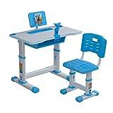 QJMY Kinderschreibtisch Schülerschreibtisch Zeichentisch höhenverstellbar und neigungsverstellbar, Metallgestell, Arbeitsplatte im buche Dekor Kindertisch mit Stuhl