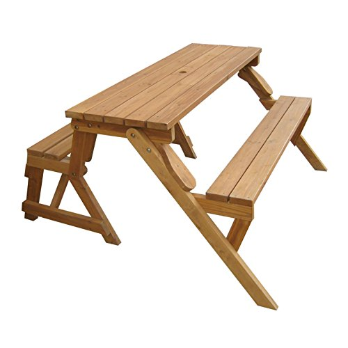 Merry Garden Interchangeable Wooden Picnic Garden Bench Outdoor Patio Dining Table, Natural