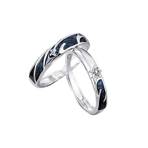 MIKAMU 星 愛の証 ペアリング ジュエリーレディースリング メンズリング フリーサイズ CZダイヤモンド シルバー925 純銀製 婚約指輪 結婚指輪 友達 恋人 プレゼント (メンズ)
