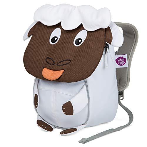 Affenzahn Kleiner Freund - Kindergartenrucksack für 1-3 Jährige Kinder im Kindergarten und Kinderrucksack für die Kita - Schaaf - Weiß