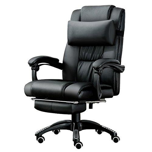 JL Comfurni Chefsessel Bürostuhl Ergonomischer Schreibtischstuhl Schreibtischsessel Computerstuhl Höhenverstellbar Drehstuhl mit Kopfkissen und Fußstütze Kunstleder schwarz