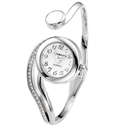 JSDDE Uhren Elegant Damen Spangenuhr Strass Weiss Zeiger Rund Armbanduhr Silber Beuge Design Armreifen Analoge Quarzuhr Kleideruhr für Frauen Damen (Silber)
