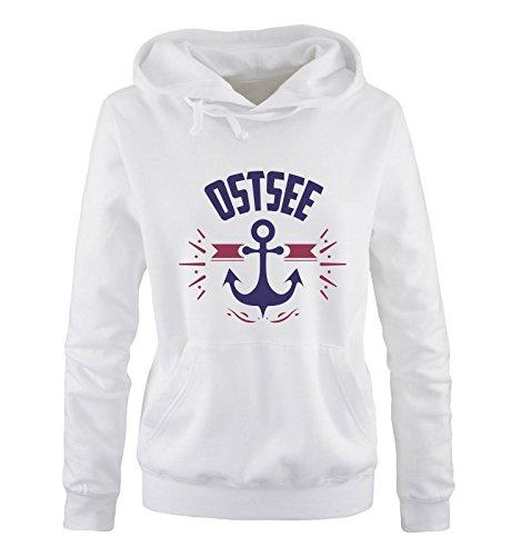 Comedy Shirts - OSTSEE - Anker - Damen Hoodie - Weiss/Lila-Fuchsia Gr. XL