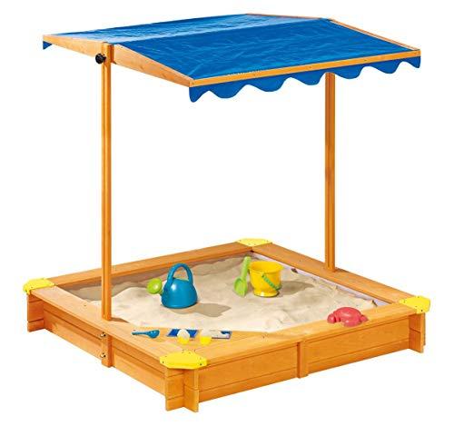 Playtive Junior Sandkiste Sandkasten mit Dach 118x118x118 cm