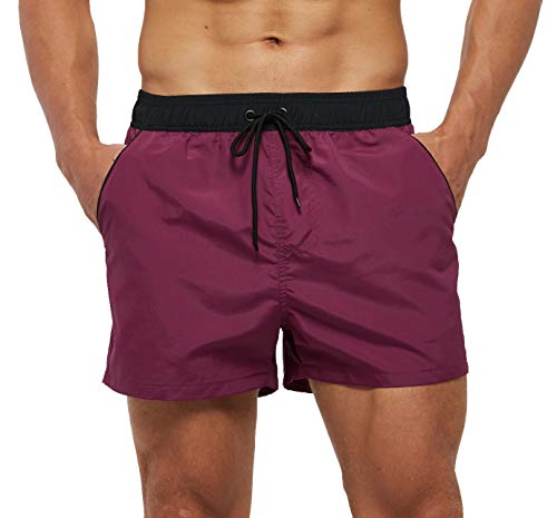SILKWORLD Men's Swimming Shorts Quick Dry Solid Swimsuit Swim Trunks with Mesh Lining and Zipper Pockets, Violet Red, Large