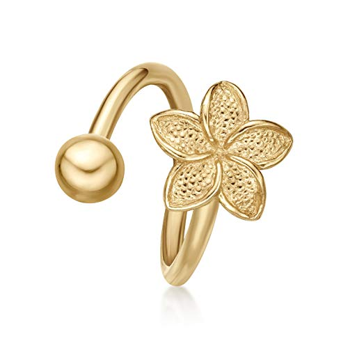 14K Yellow Gold Lotus Flower Twist Belly Ring - 16 Gauge - 9mm - Women's Floral