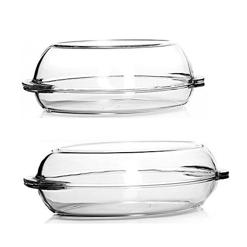 Pasabahce 2er Set Oval Auflaufform aus Borsilikatglas mit Deckel /4 Teile/ca. 34 x 19,5 cm / 1,9L und 2,25L / Hitzebeständig Mikrowellengeeignet Spülmaschinenfest Gefrierfachgeeignet