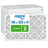 Aerostar Clean House 16x25x4 MERV 8 Pleated Air Filter, Made in the USA, (Actual Size: 15 1/2'x24 1/2'x3 3/4'), 6-Pack