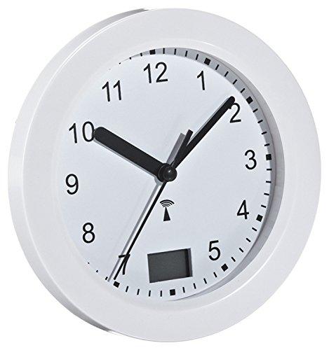 TFA 60.3501 Funk-Badezimmeruhr mit Temperaturanzeige Funkuhr mit höchster Genauigkeit, Befestigung durch Saugnäpfe (Weiß mit Batterie)