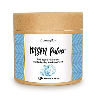 puremetics Zero Waste MSM Pulver (200g) Pflanzliches Schwefelpulver   100% natürlich, vegan & plastikfrei   Für Haut, Haar, Immunsystem & als Superfood