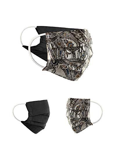 BaF 2er Pack Set Unisex Behelfsmaske Wendbar Mundschutz Maske Mund- und Nasenschutz Wendemaske mit Motiv Baumwolle BCI Waschbar, Braun
