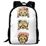 See No Evil Monkey Emoji Hipster Flower Crown Tumblr School Bag Teenager Casual Sports Backpack Men Women Student Travel Hiking Laptop Backpack