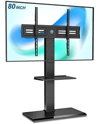 FITUEYES TV Bodenständer TV Standfuß TV Ständer mit 2 Platten aus Eisen für 50 - 80 Zoll Bildschirm Schwenkbar Höhenverstellbar Max. VESA 800 x 600 mm bis 55 kg