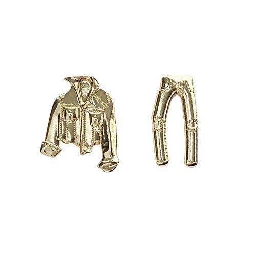 Xi-Link Pendientes S925 Agujas De Plata, Joven, Divertido, Metal, Denim, Chaqueta, Pendientes, Personalidad, Pendientes Asimétricos (Color : Ear Studs)