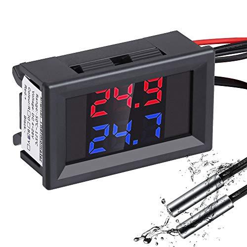 YEMIUGO Digital Thermometer, DC4-28V LCD Dual Display Car Auto Temperature Gauge Sensor Celsius, Monitor with 2 NTC Waterproof Probes for Fish Tank Aquarium