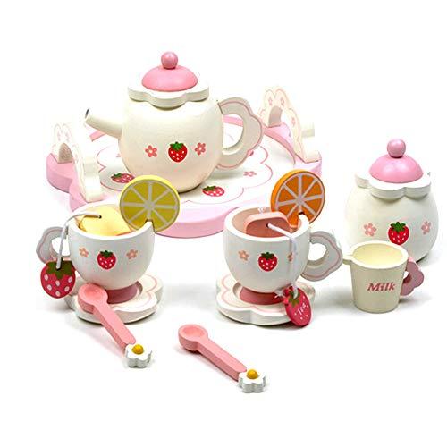 1 Satz Kindertee-Set Kleinkind Brötchen Spielen Tee-Set Spielzeug Holz Erdbeer Nachmittagstee Kinderhaus Tee-Set Spielhaus Kinder Küche Spielzeug