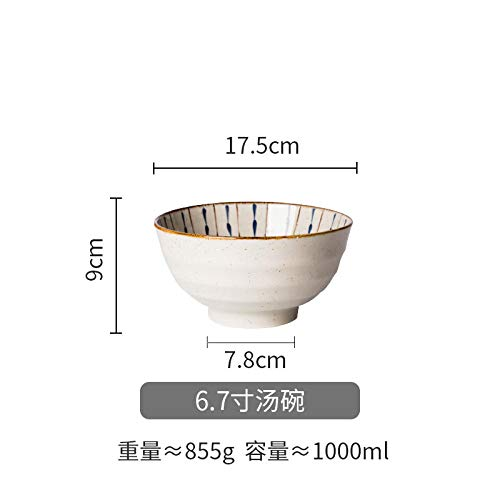 WHWH Rice Bowl underglaze Double Color Ceramic Bowl Home Retro Style-6.7 Inch Soup Bowl