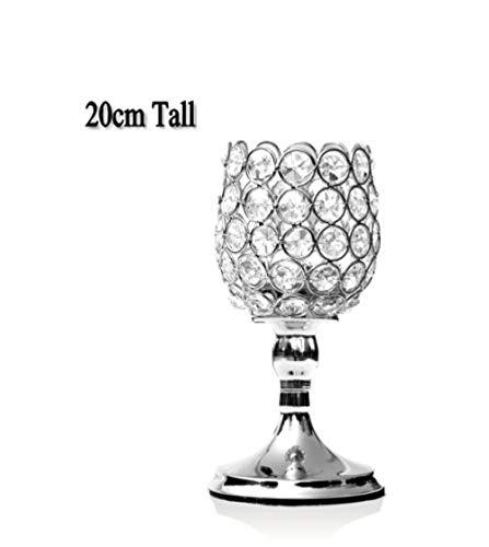 FANTEXI Kristall Kerzenhalter Metallkerzen Teelichthalter Home Coffee Bar Dekoration Jubiläumsfeier Tafelaufsätze Ständer-Silber 20 Weinglas