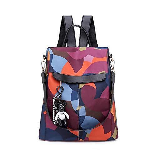 Segater® Frauen Rucksack Geldbörse Wasserdichter Nylon Rucksack für den Diebstahlschutz Schultertaschen 2 Wege umwandelbarer Rucksack Schultaschen mit Haarkugel-Anhänger Mehrfarbig
