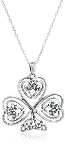 Sterling Silver Oxidized Celtic Knot Shamrock Clover Pendant Necklace, 18'