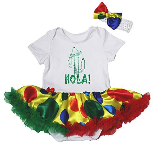 Petitebelle Cactus Hola Body Blanc à Pois Arc-en-Ciel Robe de bébé Tutu Nb-18m - Blanc - M