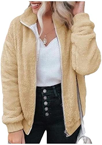 Mujeres Cardigan Cremallera Pure Fuzzy Cute Outwear