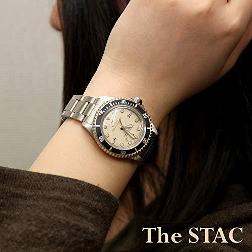 [ザ・スタック]TheSTAC日本製国産クラシックダイバーズウォッチアイボリースイープセコンド腕時計38mmClassicScuba200メンズレディース
