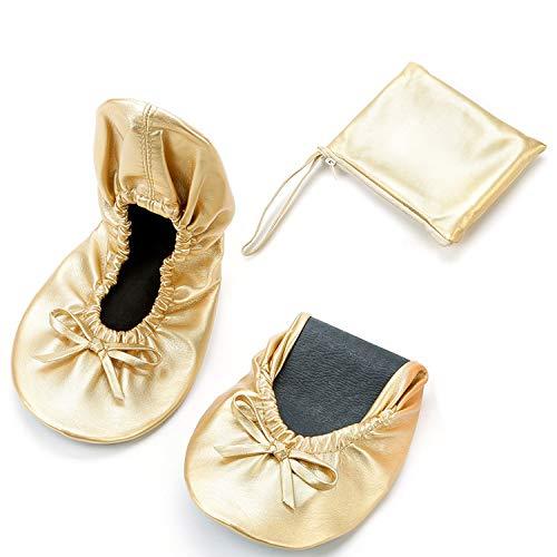 JOINFREE Zapatillas de Ballet Plegables Bailarinas portátiles enrollables con Bolsa para Mujer Medio Blanco/Negro/Rosa/Rojo/Oro