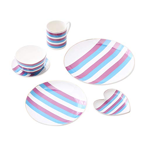 Lunch plate Dishes Set Phnom Penh Ceramic Tableware Steak Plate Cup Household Plate Dish Dessert Plate Dinnerware 6-piece Set Kitchen restaurant