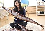 JrenBox Juguetes Big Creative Simulation Saury Toy Plush Long Saury Doll Fish Gift About 150cm