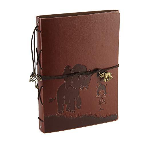 Foto Album Scrapbook Leder Abdeckung 60 Seiten Premium Black Paper Memory Book, Kinder zurück zu Schule Geschenke, Hochzeitstag Geschenke, Chrismas Geschenke, Geburtstagsgeschenke (Elefant)