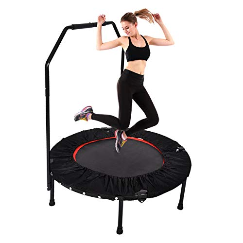 40  Mini Trampoline Rebounder, Portable & Foldable Exercise Trampoline with Handrail for Adults Kids Body Fitness Training Workouts, Indoor Garden Workout Cardio (Max Load 330 lbs)