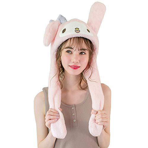My Melody Hat Pompompurin Cap Cinnamoroll Hat Cosplay Fluffy Cap Movable Long Ear Plush Cartoon Soft Warm Headwear (Melody)
