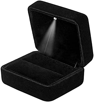 Gbyan Velvet Ring Box with LED Light Jewelry Display Gift Box