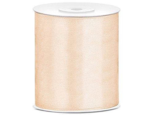 SiDeSo® Satinband 25m x 100mm viele Farben Hochzeit Dekoband Geschenkband Antennenband Schleifenband (Creme)