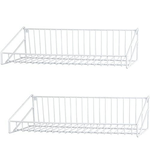 Stonebroo Metallo Mensola da Muro Bianco, Set di 2 Mensole da Parete, 50/48cm, per Ingresso Salotto Camera da Letto Bagno Cucina, LBJ13W