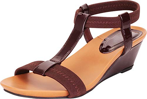 Cambridge Select Women's Open Toe T-Strap Stretch Low Wedge Sandal,9 B(M) US,Chocolate