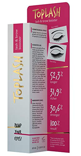Toplash Eyebrow and Eyelash Growth Serum for Women (2-in-1) Lash and Brow Enhancer for Longer, Thicker, Healthier Lashes, Hair | Botanical, Myristoyl...