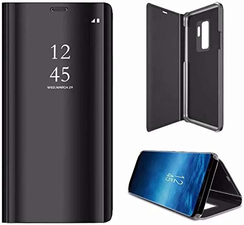 2ndSpring Spiegel Hülle kompatibel mit Galaxy A5 2018 /A8 2018,Mirror Schutzhülle Clear View Protective Flip Hülle Case Cover,Schwarz