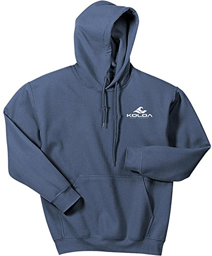 Koloa Classic 2 Side Wave Logo Hoodies-Hooded Sweatshirt-Indigo.Blue-M Blue Classic Logo Hoody Sweatshirt