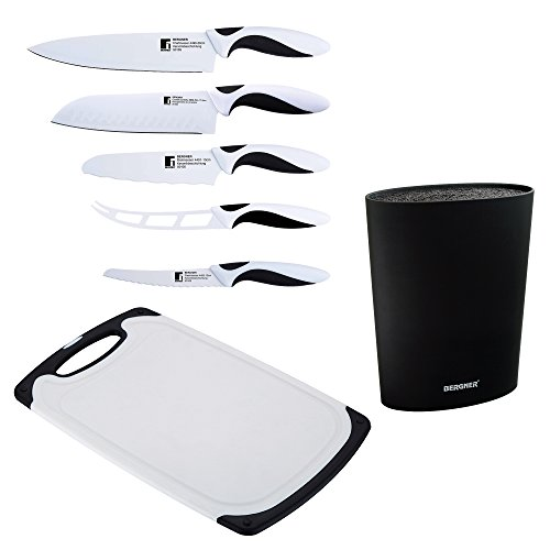 Bergner Black&White Lot de 5 Couteaux en Acier Inoxydable + Planche à découper + Tamis Universel