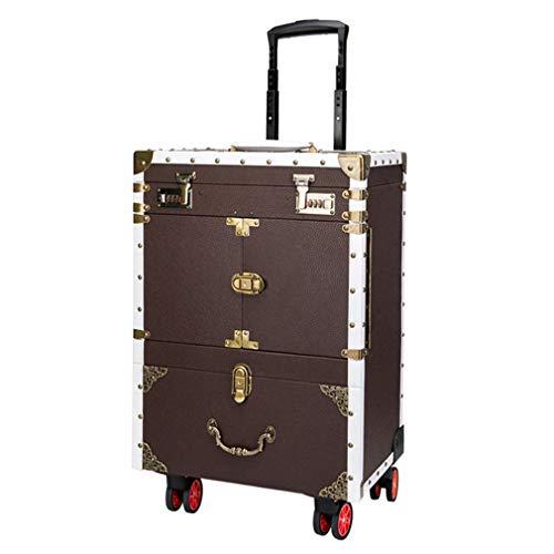Hairdresser Toolbox Surdimensionné Travel Case Stylist Double Password Swivel Roller Makeup Case