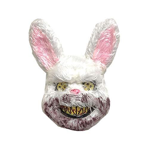 CffdoiMju Halloween Horror Bloody Rabbit Mask, Masquerade Horror Wigs Halloween Bar Show Headdress