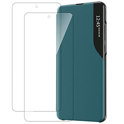 Handyhülle für Samsung Galaxy S21 5G Hülle Klapphülle mit [2 Stück Panzerglas Schutzfolie] Clear View Leder Flip Case 360 Grad Standfunktion Schutzhülle für Samsung S21 5G (Grün)