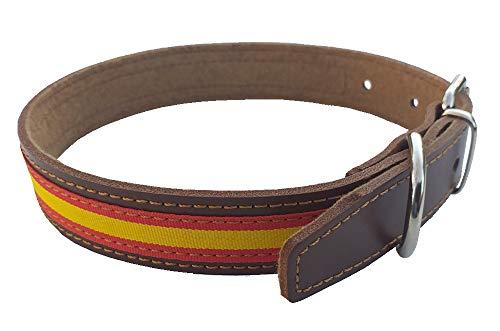 Tiendas LGP - Collar para Perros de Piel Flor con Bandera de España, 2,5 x 51 cm, Color Marrón