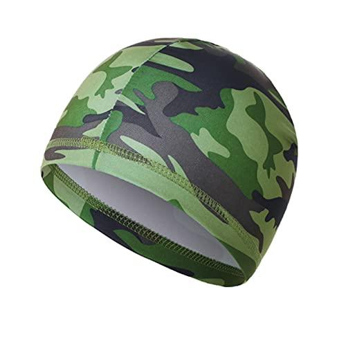 KADBLE Men Skull Cap Running Hats Sweat Wicking Hats Milk Silk Cycling Helmet Liner Camo Green