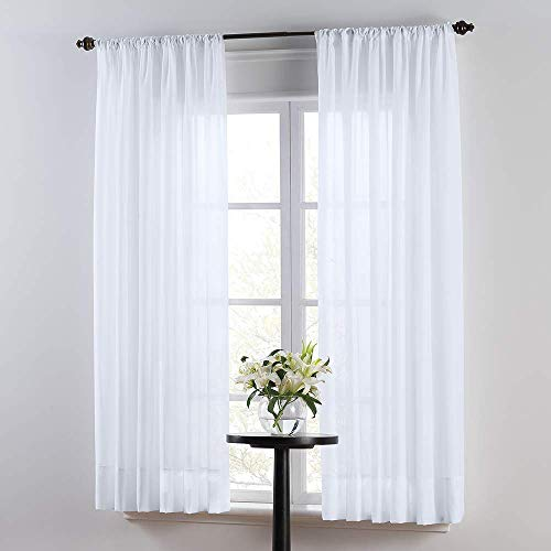"SmartSheer Solid Rod Pocket Window Sheer Panel, White, 63"" L x 59"" W (Single Panel)"