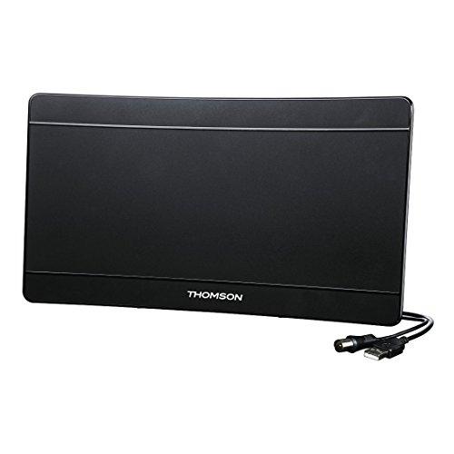 Thomson ANT1706 Zimmerantenne Curved UHD (Antenne für TV/Radio, DVB-T/DVBT-2, 4K Ultra HD, Flachantenne, aktiv, mit Signalverstärkung) schwarz