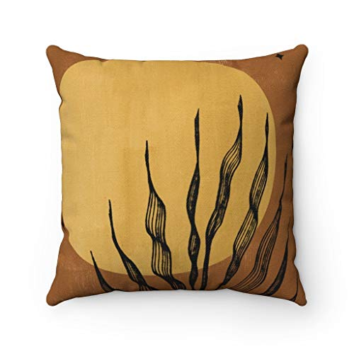 Promini Pillow Cover,Couch Accent,Decorative Pillowcase,Sun Moon Stars,Terra Cotta Mystic,Beige Brown Gold,Cactus Floral Leaf,Southwestern Abstract Case Cushion for Sofa Home Decor 22 x 22 Inches