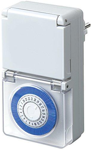 Brennenstuhl Zeitschaltuhr MMZ 44, mechanische Timer-Steckdose (Tages-Zeitschaltuhr, IP44 geschützt, mit erhöhtem Berührungsschutz & Schutzabdeckung) weiß
